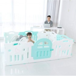 Ifam Marshmallow Plus Baby Play Yard (9 panels + 1 door - 207x147cm) - Mint + White
