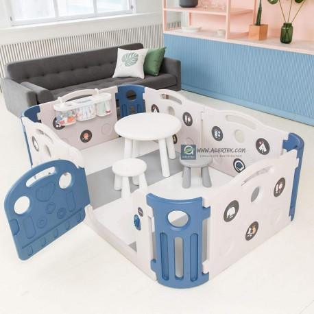 Deluxe Learning Baby Play Yard + Play Mat Bundle (save 5%) - Deep Blue + Cream White