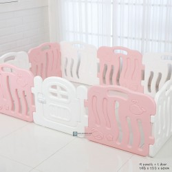 Ifam Shell Baby Play Yard with Door Set (10pcs 198x133cm) - Pink + White