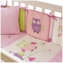 Bubba Blue Baby Owl Girl Cot Bumper Set
