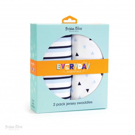 Bubba Blue Everyday Essentials 2 Pk Jersey Swaddles (Blue)