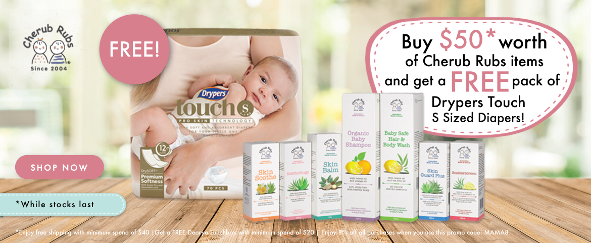 Buy $50 worth of Cherub Rubs items and get a FREE pack of Drypers Touch S Sized Diapers!