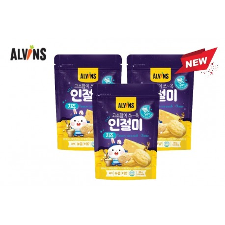 "ALVINS Korean Rice Snack ""Injeolmi""  (Cheese) x 3 Pkt"
