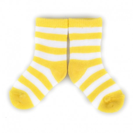 PLUSH® Stay on socks (0-2yrs) - Yellow with White Stripes