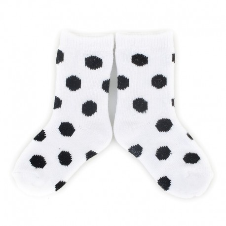 PLUSH® Stay on socks (0-2yrs) - White with Black Dots