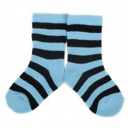 PLUSH Stay on socks (0-2yrs) - Blue with Black Stripes