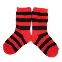 PLUSH Stay on socks (0-2yrs) - Red with Black Stripes