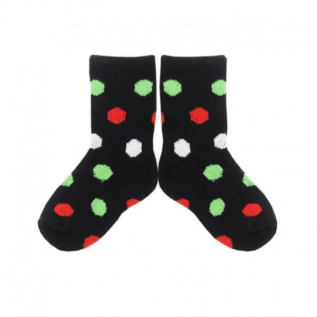 PLUSH® Stay on Socks (4-8yrs) - Black with White/Red/Green Dots