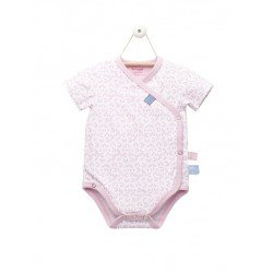 Snoozebaby Romper ss Mosaic Powder Pink wrap