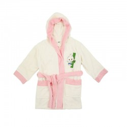 Bebe Bamboo 100% Bamboo Bathrobe White/Pink (0-2YRS)