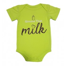 Bebe Bamboo  Cute Saying Onesie - Gimme that milk!